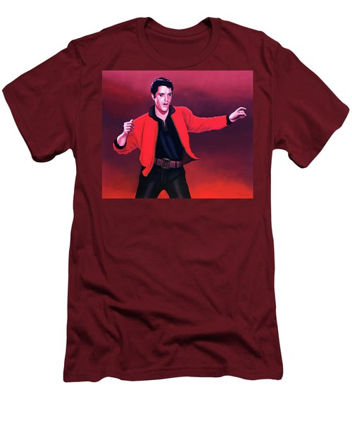 Elvis Presley 4 Painting Men's T-Shirt (Slim Fit) by Paul Meijering
