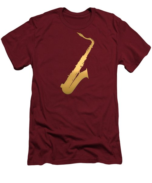 Gold Embossed Saxophone On Red Background Men's T-Shirt (Slim Fit) by Serge Averbukh