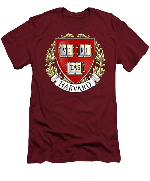 Harvard University Seal - Coat Of Arms Over Colours Men's T-Shirt (Slim Fit) by Serge Averbukh