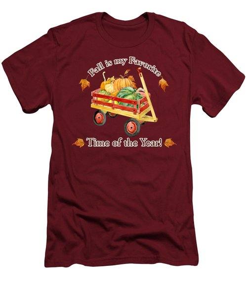 Harvest Red Wagon Pumpkins N Leaves Men's T-Shirt (Slim Fit) by Audrey Jeanne Roberts