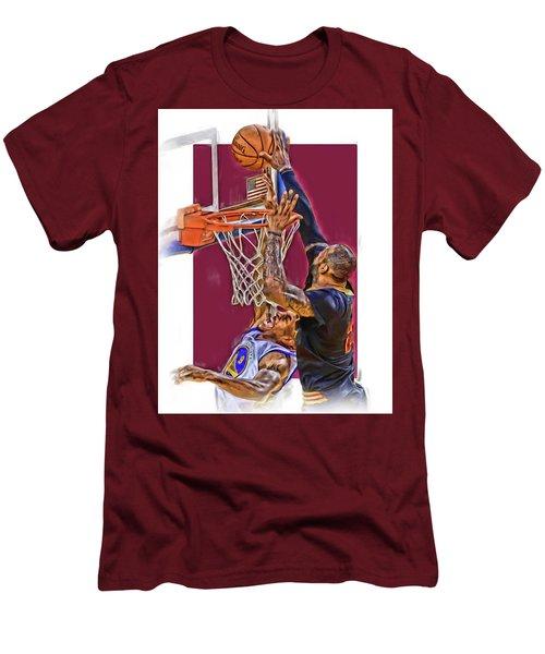 Lebron James Cleveland Cavaliers Oil Art Men's T-Shirt (Slim Fit) by Joe Hamilton
