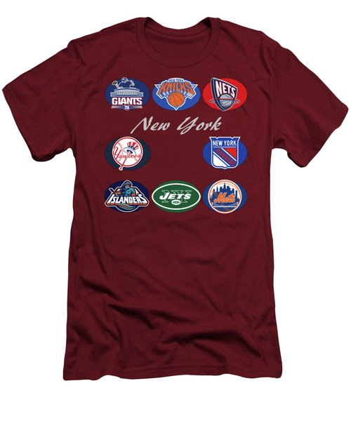New York Professional Sport Teams Collage  Men's T-Shirt (Slim Fit) by Movie Poster Prints