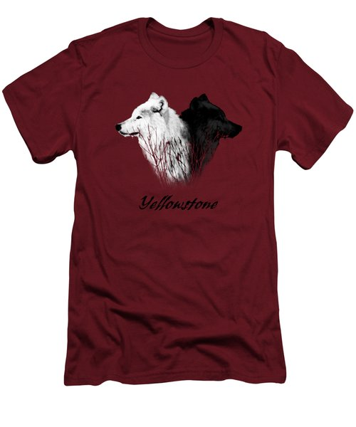 Yellowstone Wolves T-shirt Men's T-Shirt (Slim Fit) by Max Waugh