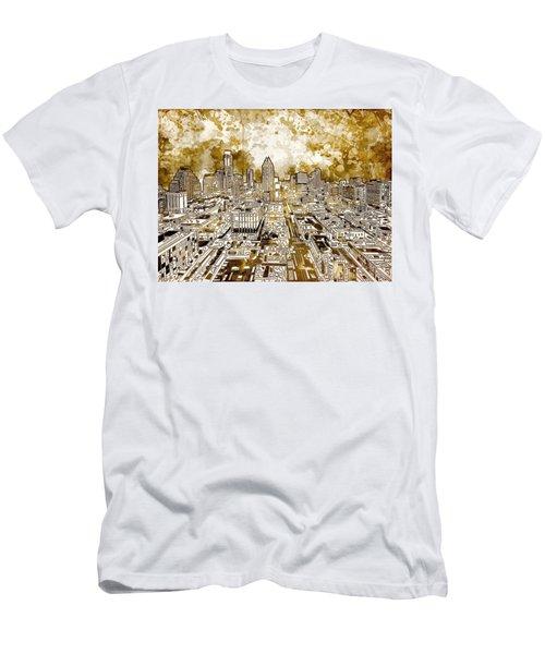 Austin Texas Abstract Panorama 6 Men's T-Shirt (Slim Fit) by Bekim Art