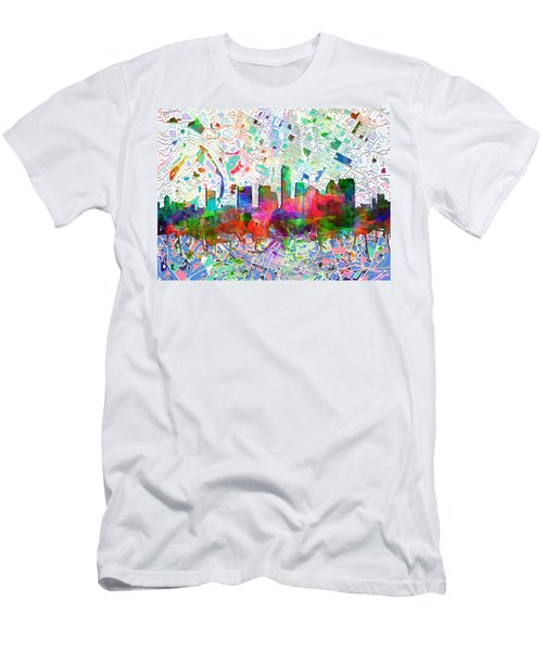 Austin Texas Abstract Panorama 7 Men's T-Shirt (Slim Fit) by Bekim Art
