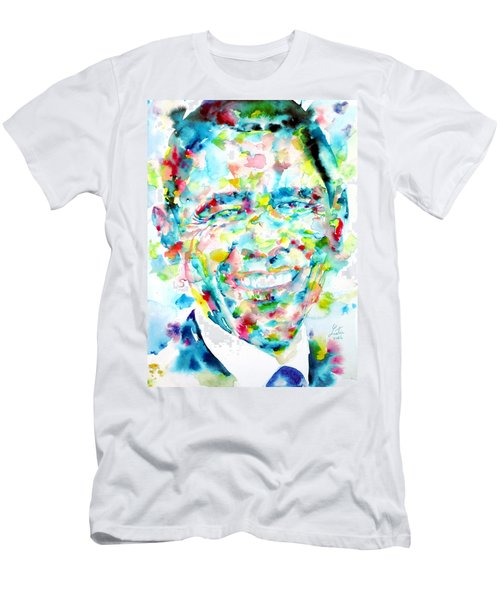 Barack Obama - Watercolor Portrait Men's T-Shirt (Slim Fit) by Fabrizio Cassetta