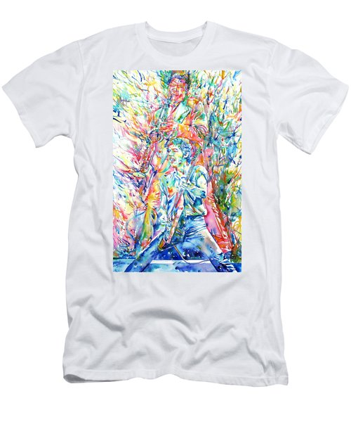 Bruce Springsteen And Clarence Clemons Watercolor Portrait Men's T-Shirt (Slim Fit) by Fabrizio Cassetta