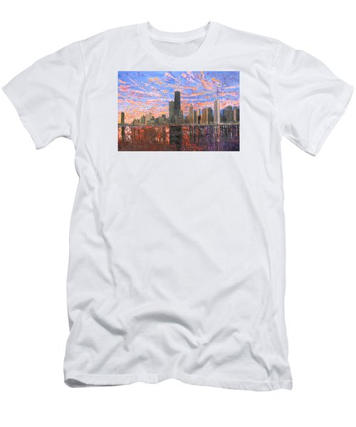 Chicago Skyline - Lake Michigan Men's T-Shirt (Slim Fit) by Mike Rabe