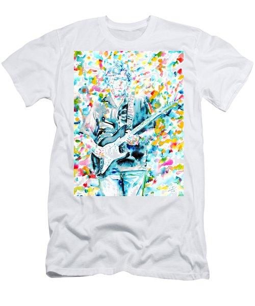 Eric Clapton - Watercolor Portrait Men's T-Shirt (Slim Fit) by Fabrizio Cassetta