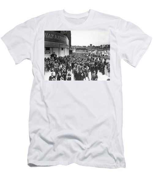 Fans Leaving Yankee Stadium. Men's T-Shirt (Slim Fit) by Underwood Archives