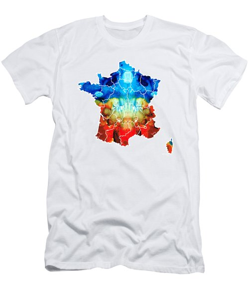 France - European Map By Sharon Cummings Men's T-Shirt (Slim Fit) by Sharon Cummings
