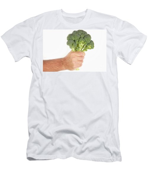 Hand Holding Broccoli Men's T-Shirt (Slim Fit) by James BO  Insogna