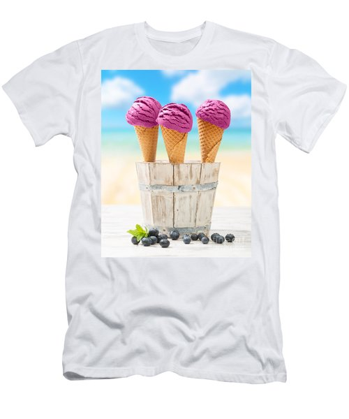 Icecreams With Blueberries Men's T-Shirt (Slim Fit) by Amanda Elwell