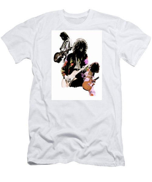 In Flight Iv Jimmy Page  Men's T-Shirt (Slim Fit) by Iconic Images Art Gallery David Pucciarelli