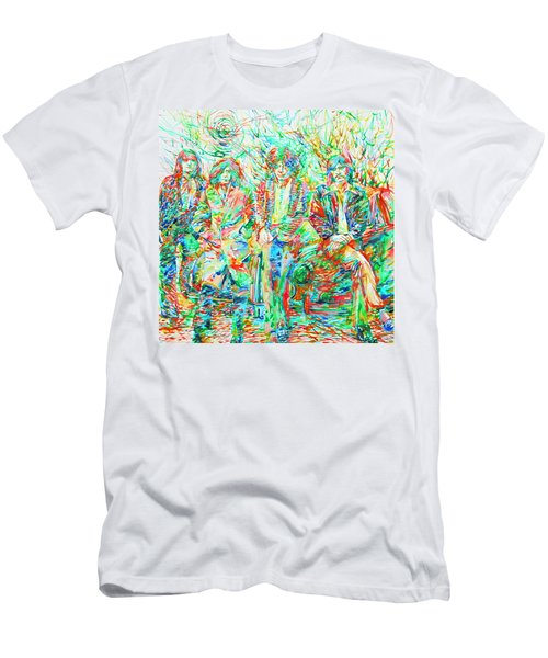 Led Zeppelin - Watercolor Portrait.1 Men's T-Shirt (Slim Fit) by Fabrizio Cassetta