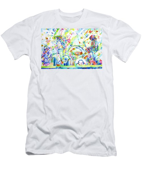 Led Zeppelin Live Concert - Watercolor Painting Men's T-Shirt (Slim Fit) by Fabrizio Cassetta