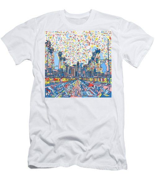 Los Angeles Skyline Abstract 3 Men's T-Shirt (Slim Fit) by Bekim Art