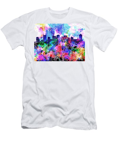 Nashville Skyline Watercolor 5 Men's T-Shirt (Slim Fit) by Bekim Art