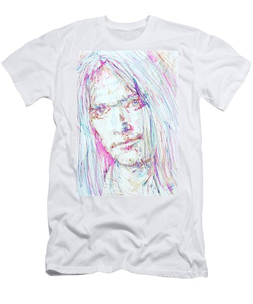 Neil Young - Colored Pens Portrait Men's T-Shirt (Slim Fit) by Fabrizio Cassetta
