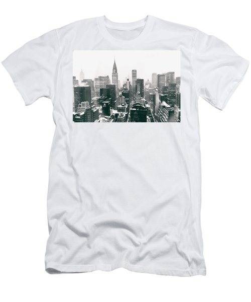New York City - Snow-covered Skyline Men's T-Shirt (Slim Fit) by Vivienne Gucwa