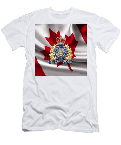 Royal Canadian Mounted Police - Rcmp Badge Over Waving Flag Men's T-Shirt (Slim Fit) by Serge Averbukh