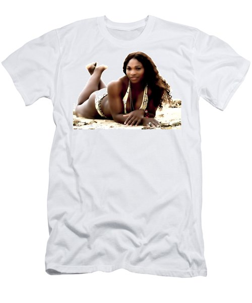 Serena Williams In The Sand Men's T-Shirt (Slim Fit) by Brian Reaves