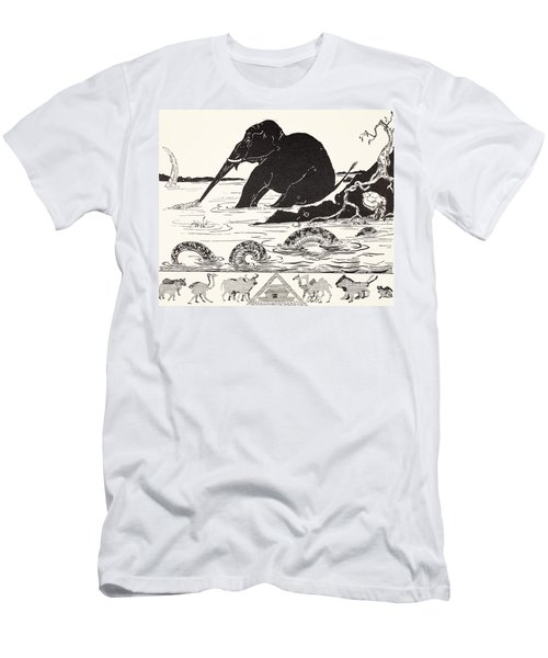 The Elephant's Child Having His Nose Pulled By The Crocodile Men's T-Shirt (Slim Fit) by Joseph Rudyard Kipling