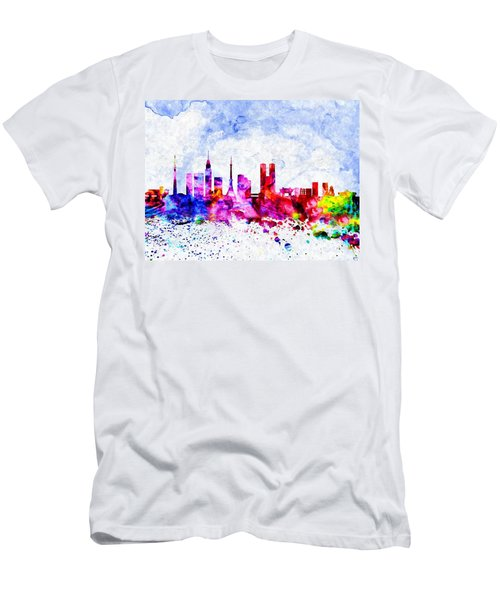 Tokyo Watercolor Men's T-Shirt (Slim Fit) by Daniel Janda