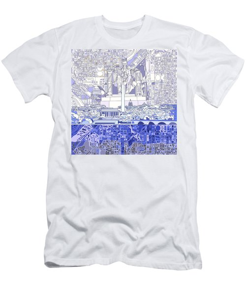 Washington Dc Skyline Abstract 3 Men's T-Shirt (Slim Fit) by Bekim Art