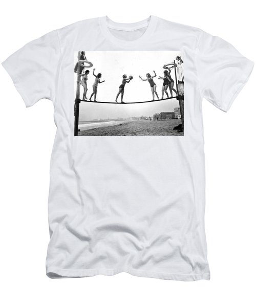 Women Play Beach Basketball Men's T-Shirt (Slim Fit) by Underwood Archives