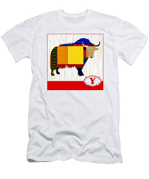 Y Is For Yak Men's T-Shirt (Slim Fit) by Elaine Plesser