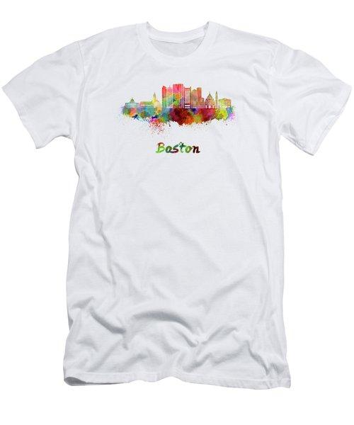 Boston Skyline In Watercolor Men's T-Shirt (Slim Fit) by Pablo Romero