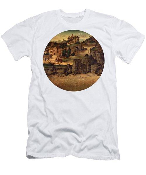 Landscape With Castles Men's T-Shirt (Slim Fit) by Bartolomeo Montagna