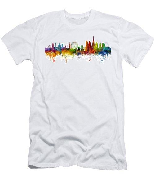 London England Skyline Panoramic Men's T-Shirt (Slim Fit) by Michael Tompsett