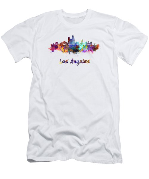 Los Angeles Skyline In Watercolor Men's T-Shirt (Slim Fit) by Pablo Romero