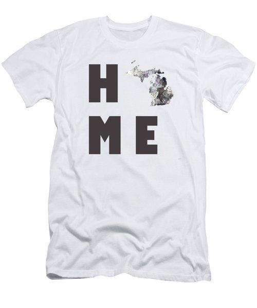 Michigan State Map Men's T-Shirt (Slim Fit) by Marlene Watson