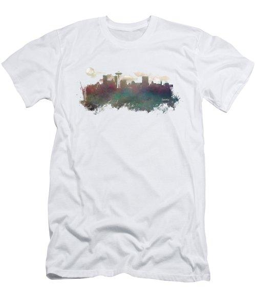 Seattle Washington Skyline Men's T-Shirt (Slim Fit) by Justyna JBJart
