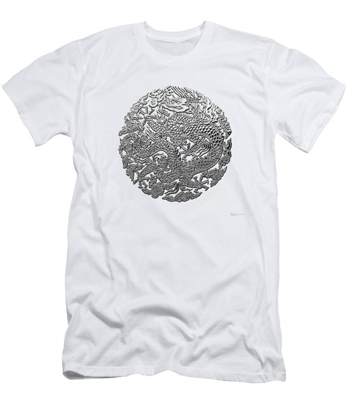 Sliver Chinese Dragon On White Leather Men's T-Shirt (Slim Fit) by Serge Averbukh