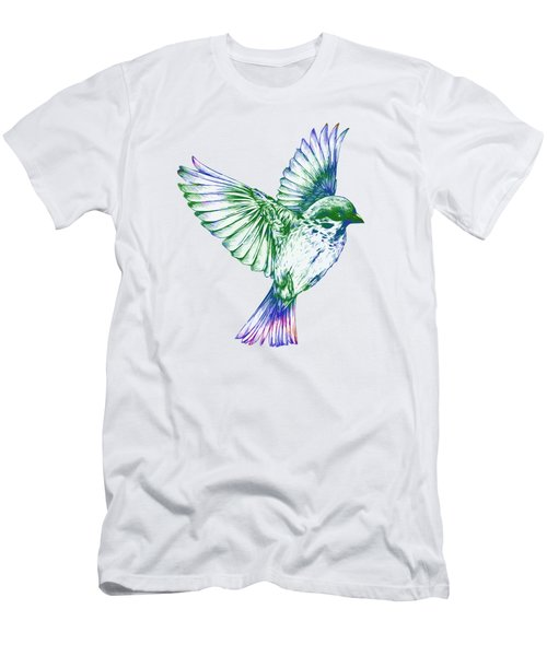 Textured Bird With Changeable Background Color Men's T-Shirt (Slim Fit) by Sebastien Coell