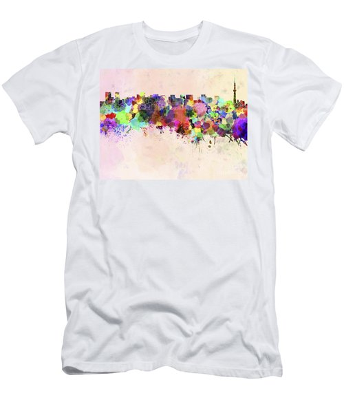 Tokyo Skyline In Watercolor Background Men's T-Shirt (Slim Fit) by Pablo Romero