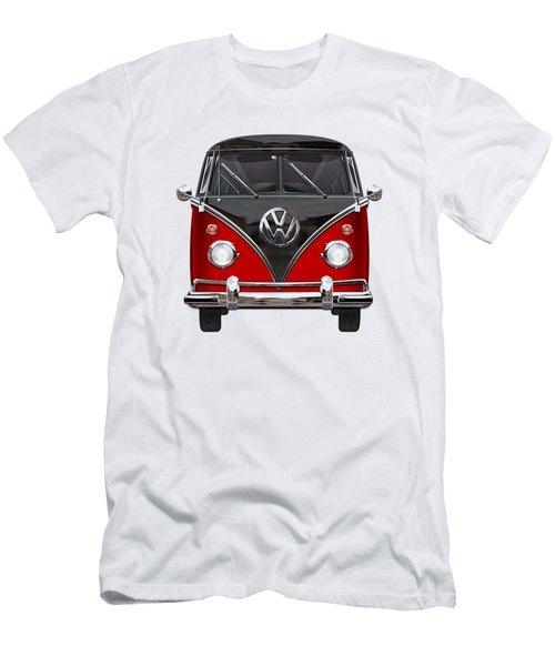 Volkswagen Type 2 - Red And Black Volkswagen T 1 Samba Bus On White  Men's T-Shirt (Slim Fit) by Serge Averbukh