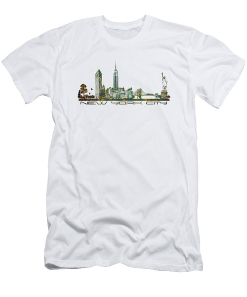 New York City Skyline Men's T-Shirt (Slim Fit) by Justyna JBJart