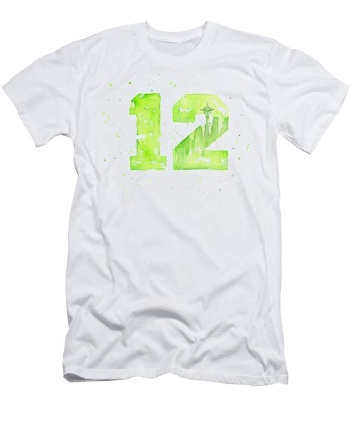 12th Man Seahawks Art Go Hawks Men's T-Shirt (Slim Fit) by Olga Shvartsur