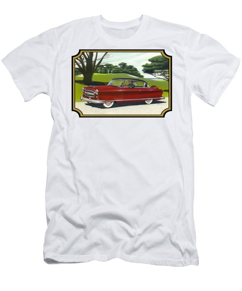1953 Nash Rambler Car Americana Rustic Rural Country Auto Antique Painting Red Golf Men's T-Shirt (Slim Fit) by Walt Curlee