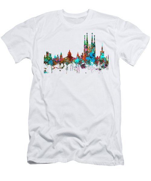 Barcelona Spain Skyline Men's T-Shirt (Slim Fit) by Marlene Watson
