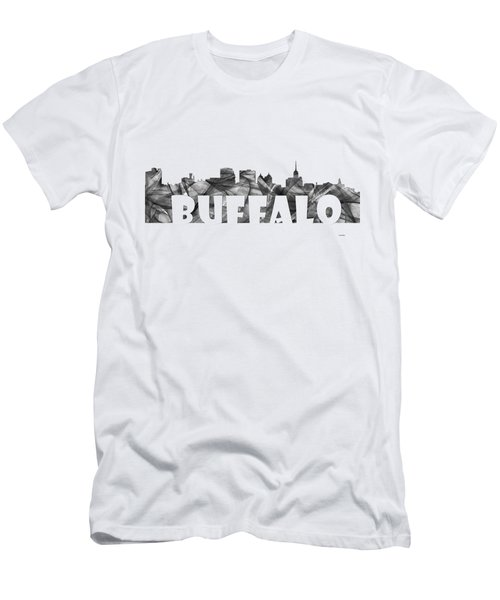 Buffalo New York Skyline Men's T-Shirt (Slim Fit) by Marlene Watson