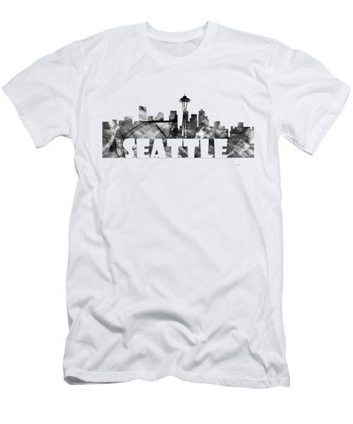 Seattle Washington Skyline Men's T-Shirt (Slim Fit) by Marlene Watson