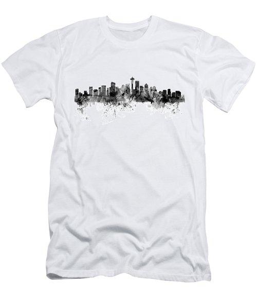 Seattle Washington Skyline Men's T-Shirt (Slim Fit) by Michael Tompsett