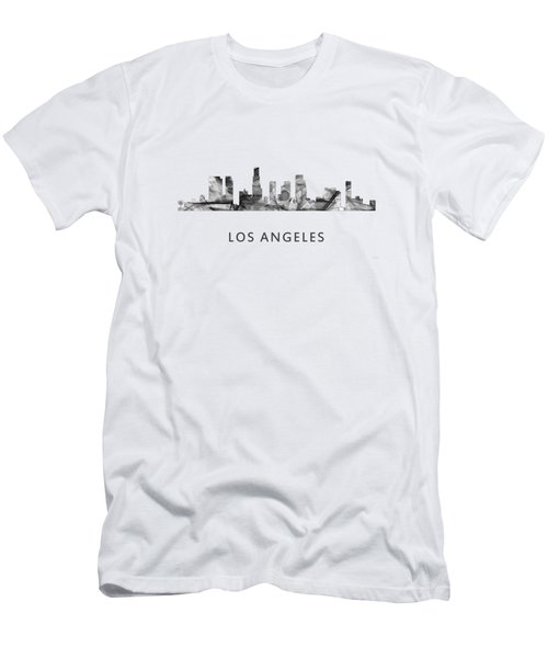 Los Angeles California Skyline Men's T-Shirt (Slim Fit) by Marlene Watson