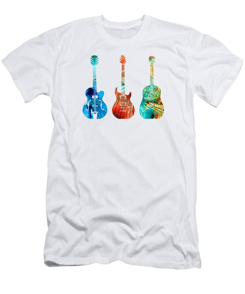 Abstract Guitars By Sharon Cummings Men's T-Shirt (Slim Fit) by Sharon Cummings